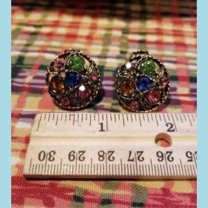 Multicolor Round Rhinestone Clipon Earrings Set